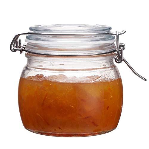 The Happy Jar - Barattolo in vetro con coperchio a clip e barattoli in vetro ermetici, 500 ml, per spezie, zucchero, caffè, spezie, avena, cibo per animali domestici (500 ml)