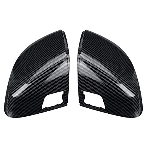 MZQ-DM Cubierta De Espejo, Par para Audi A3 S3 8V Rs3, Tapas De ala Laterales 2013 2014 2015 2016 2017 2018 2019 2020, Aspecto De Carbono Trasero Negro Brillante, Negro Carbono