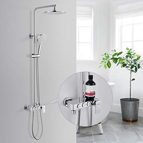 Duschset mit Armatur und Ablage, BONADE Edelstahl Duschsäule Regendusche mit 3 Strahlarten Handbrause, Höhenverstellbar Duschstange (88-137 cm) und Badewanne Mischbatterie, Chrom