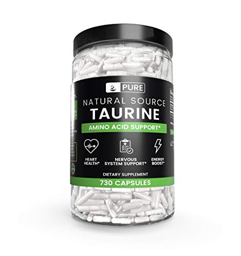 100% Pure Taurine, 730 Capsules, 6-Month Supply, 1120mg, No Magnesium or Rice Fillers, Gluten-Free, Made in The USA, Non-GMO, Potent, Undiluted Taurine with No Additives