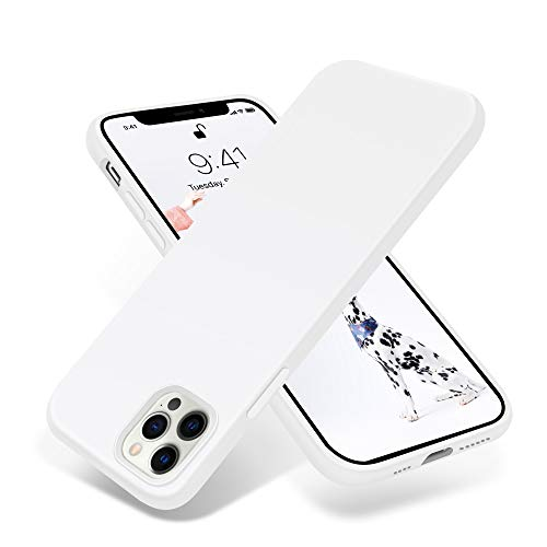 OTOFLY Compatible with iPhone 12 Pro Max Case 6.7 inch(2020),[Silky and Soft Touch Series] Premium Soft Liquid Silicone Rubber Full-Body Protective Bumper Case (White)