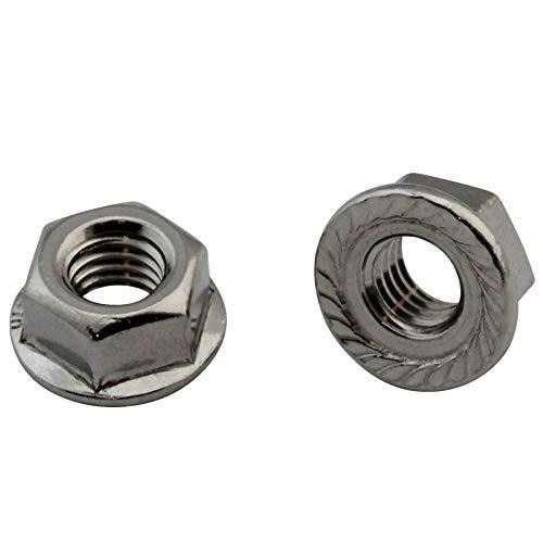 D2D | VPE: 10 Stück - Flanschmuttern mit Sperrverzahnung - Größe: M10 - DIN 6923 / ISO 1661 - Edelstahl A2 V2A | Bundmuttern