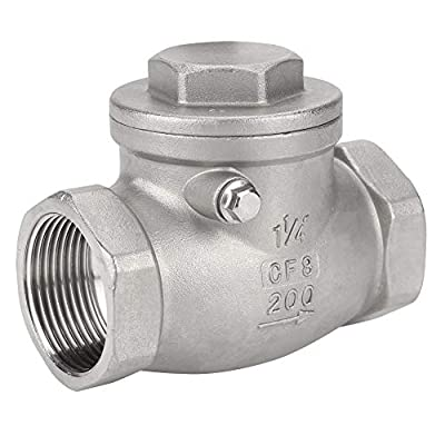 Akozon Swing Check Valve DN32 304 Stainless Steel One-Way Valve Female Thread 200PSI for Water Oil Gas from Akozon
