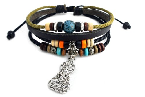Agathe Creation N02222 - Pulsera tibetana de la suerte, colgante de Buda Guan Yin, de plata tibetana, piel, cáñamo y perlas de madera, cerámica y metal, multicolor