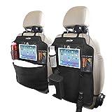 Protezione per seggiolino auto Oasser in 2 pezzi, protezione per sedile, portaoggetti per sedile posteriore impermeabile, 9 tasche, scatola per fazzoletti, con gancio