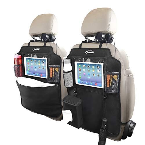 Oasser Auto Rückenlehnenschutz 2 Stück Auto Rücksitz-Organizer Kick-Matten-Schutz für Autositz 600D Oxford Stoff WasserdichtesTrittschutz mit 10 Zoll Durchsichtigem iPad-Tablet-Halter 1 Tissue-Box