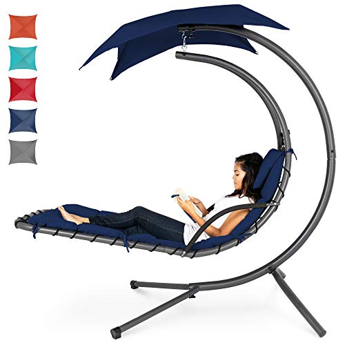 Outdoor Hanging Curved Chaise Lounge Chair Swing
