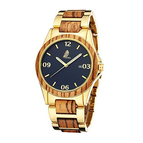 Negocios Relojes Hombre, CZOKA Sandalwood/Ebony/Zebra Wood Movimiento de Cuarzo japonés con Correa Ajustable Artesanía Artesanal Madera Relojes, (Zebra Metal)
