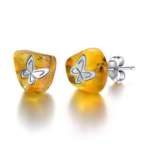 Regalo para ti Springlight S925 Pendientes de botón de mariposa de plata esterlina Piedra de ámbar Joyas únicas hechas a mano para mujeres y niñas(Silver butterfly)