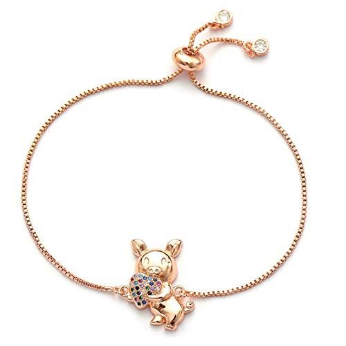 FUKAI Trending Zodiac Pig Charm Bracelet With Zircon Hollow Gold Woman Bracelet Lucky Color Bracelet For Kids Jewelry (Color : Rose gold)