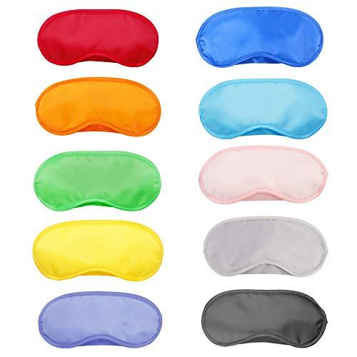 Aweisile Antifaz para dormir 20 Piezas Antifaz para Los Ojos con almohadillaMulticolor Cubierta Antifaz 10 colores Antifaces Máscara para viajar dormir y juegos de fiesta