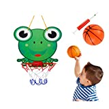 Borstu Mini Panier de Basket Enfants Dessin animé Stand de Basket-Ball Jouets avec réseau, Pompe, Animaux Mignons Basket-Ball Conseil Sport éducatif Jeux interactifs