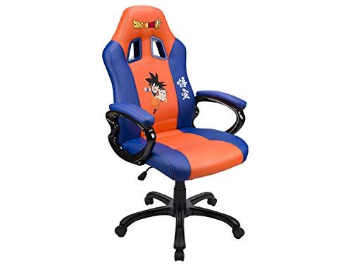 Gaming Bucket Seat - Gamer Armchair with Ergonomic Seat - Swivel Office and Game Chair - Official Dbz Dragon Ball Super License - San Goku Orange and Blue (PS4//xbox_one//)