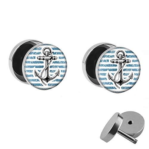 Treuheld® | Set - Anker und Blau-Weiße Streifen - 2 Ohrstecker zum Schrauben - Maritime Fake Plugs - Ø 10mm - Ohrringe Fakeplug - Silber Ohrring in Blau-Weiß - Chirurgenstahl Faketunnel
