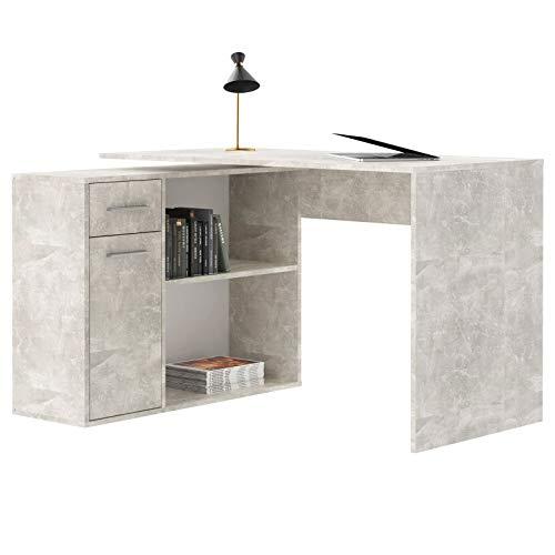 Eckschreibtisch Isotta modernes Design, Schreibtisch Computertisch Bürotisch Winkelschreibtisch mit großzügigem Stauraum in Betonoptik foliert