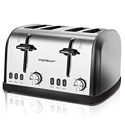 Aigostar 4 Slice Toasters 1900W&1600W, Stainless Steel with High Lift & Wide Slots, Dual 7-Variable Browning Control, with Defrost, Reheat and Cancel Buttons, Silver