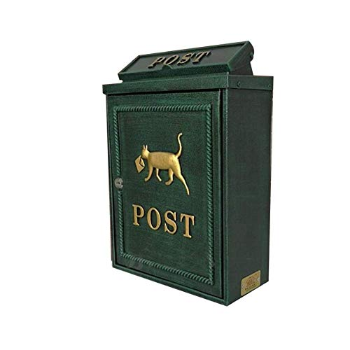 Kyman Briefkasten mit Schloss, Retro-/Vintage-Stil, europäisches Aluminium, Wandmontage, sicherer Briefkasten, 29 x 13 x 42 cm