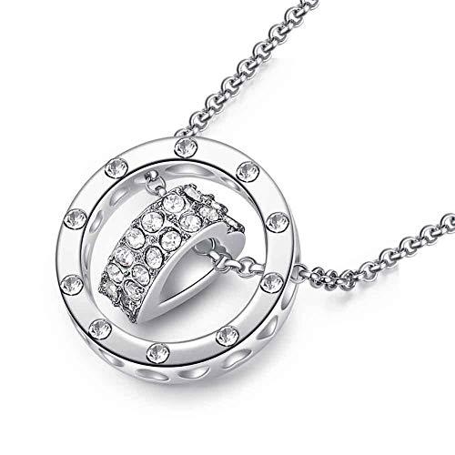 HEJIAO Damen Zeit, Um Herzförmige Halskette Herz Und Ringkette Roségold Schlüsselbeinkette Schmuck Weiß Laufen