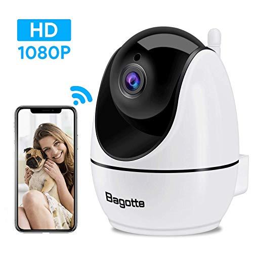 Bagotte WLAN Kamera, Überwachungskamera, IP Kamera 1080P mit Nachtsicht, Bewegungserkennung, unterstützt Fernalarm, Monitor-Baby/Haustier/Haus