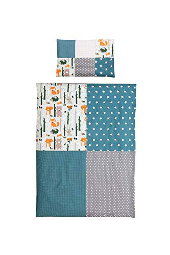junto de ropa de cama para niño de ULLENBOOM ® bosque verde azul (juego de 2 piezas: funda de almohada con patchwork y funda nórdica)