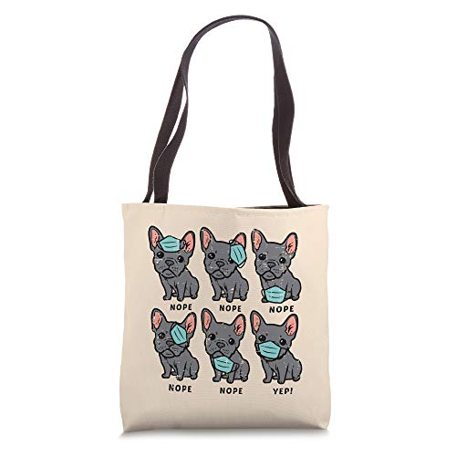 French Bulldog In Mask Funny Frenchie Quarantine Dog Gift Tote Bag