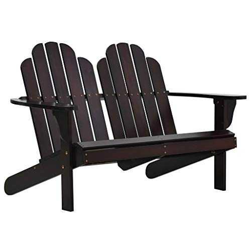 Tidyard Gartenstuhl Holz Gartensessel Adirondack Stuhl Chair Doppel 2 Sitzer Holzstuhl Dream-Chairs Terassenstuhl Balkonstuhl, 124x84x83 cm Braun