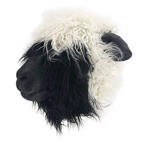 HENGYUTOY MASK Mscara de ltex con cabeza de oveja, diseo de animales de Navidad, Halloween Mutton, accesorio para decoracin de fiesta, lmpara con disfraz de pelo