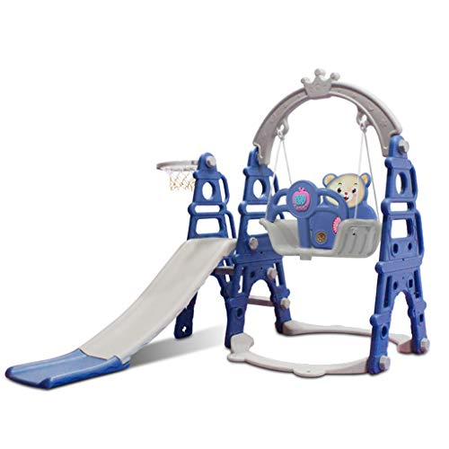 Slide and Swing Set,Toddlers 3 in 1 Kids Slide Sturdy Toddler Playground Climber Slide Playset Basketball Hoop,Learning Panel for Indoor & Backyard, Infant Playground Yard Games (UK 3-5K Day,Blue)