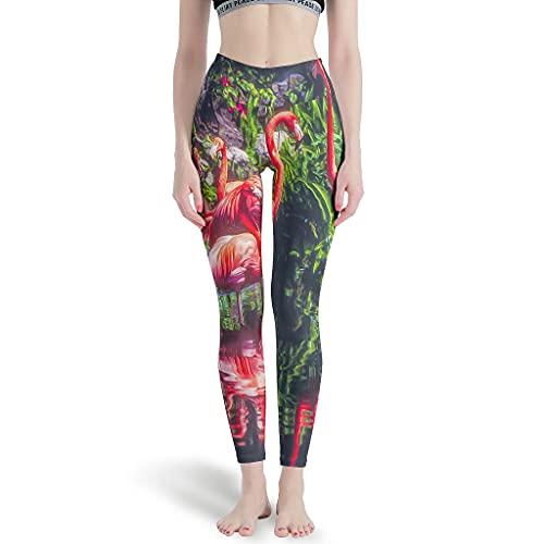 Elucassi Polainas de flamenco animal para mujer pantalones de yoga para Pilates blanco 3xl