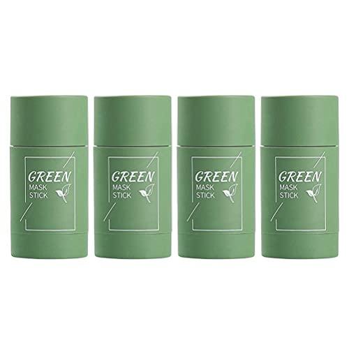 HUSHUI Mascarilla de té Verde Barra para la Cara, 4 Piezas de té Verde, mascarilla de Arcilla purificadora, Control de Aceite, mascarilla sólida, mascarilla hidratante de Limpieza Profunda
