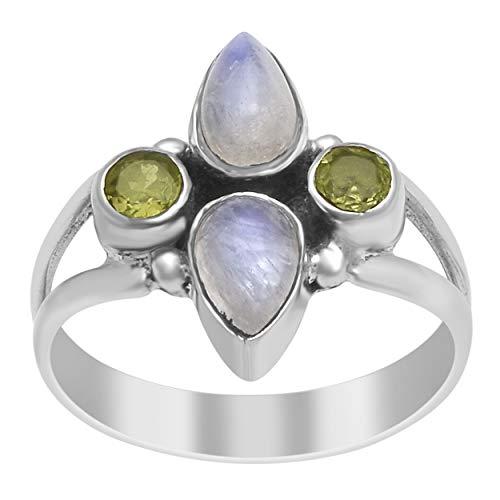 Clásico Piedra de la luna Peridoto Piedra preciosa 925 Libra esterlina Plata Hecho a mano Anillo Boho (9)