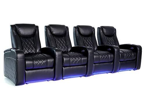 Zinea Kinosessel Emperor - 4 Sitzer - Premiumleder, elektrisch verstellbar, LED Becherhalter, Ambientebeleuchtung, Kinosofa, Kinositz - sofort lieferbar