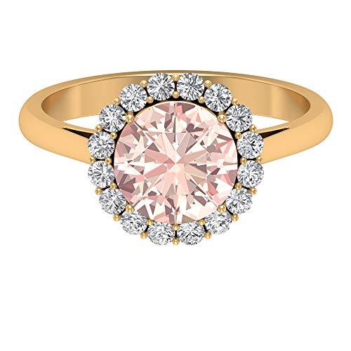 Lab Created Morganit Ring, 2,91 ct rund Edelstein, D-VSSI Moissanit 8 mm Solitär Halo Ring, massives Gold Krone Fassung Ring, einfacher Verlobungsring, 14K Gelbes Gold, Size:EU 67