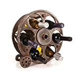 "Foster & Rye Gears And Wheels Countertop Wine Rack, Polyresin Wine Bottle Holder, Holds 6 Standard Wine Bottles, 3.2"" x 5.2"" x 13.5"""