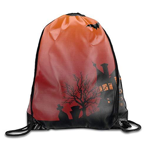 ZHIZIQIU 3D Print Drawstring Backpack Halloween House Flyer Rucksack Shoulder Bags Gym Bag, Universe