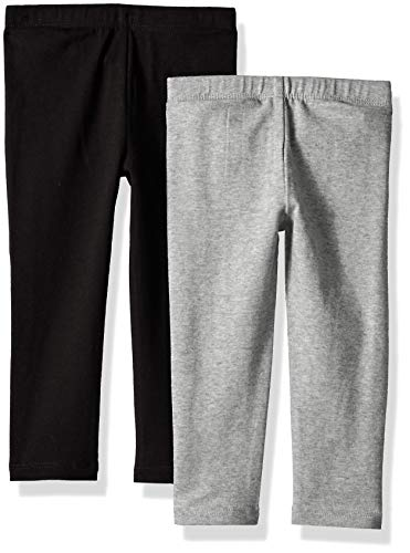 The Children's Place Girls' Little 2 Pack Legging Set, Heather/Black, 12-18MOne Size