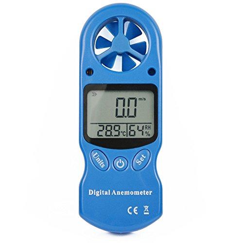 Ehdis Anemómetro Digital en portátil LCD, Velocidad del Viento medidor con higrómetro Termómetro de Fondo para Vela, Cometa, Surf, Marina, Pescar