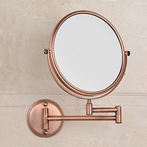 JIE KE punch-free Home Hotel-badkamer-wandspiegel cosmeticaspiegel badkamer-wandklap-telescopische vergroting dubbele spiegel HD-vergrootglas Rood brons