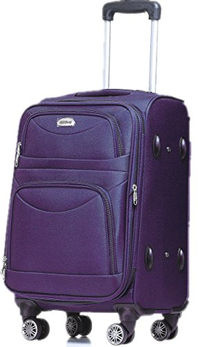 BEIBYE 8009 TSA Schloß Handgepäck Stoffkoffer Trolley Koffer M-L-XL-Set (Violett, M)