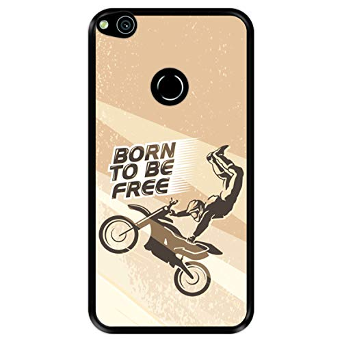 Funda Negra para [ Huawei P8 Lite 2017 - P9 Lite 2017 - Nova Lite ] diseño [ Moto Freestyle Rider Deporte Extremo ] Carcasa Silicona Flexible TPU