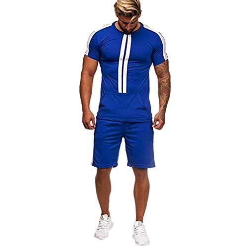 AIchenYW Jiakeda – Chándal deportivo para hombre, 2 piezas, conjunto de deporte de manga corta, diseño a rayas, suéter de verano y tiempo libre Azul-02. L