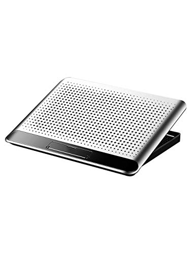Refrigerador silencioso para ordenador portátil, soporte ajustable de 6 alturas, con potente ventilador independiente, compatible con la mayoría de los portátiles, color gris