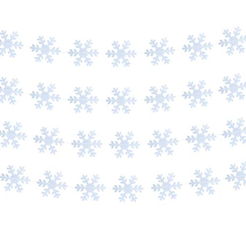 MOWO Clear Snowflake Circle Garland Banner Hanging Decoration for Winter Frozen Theme Christmas Day Birthday Party Decoration,4.7in in Diameter,7-feet(Transparent,2pc)