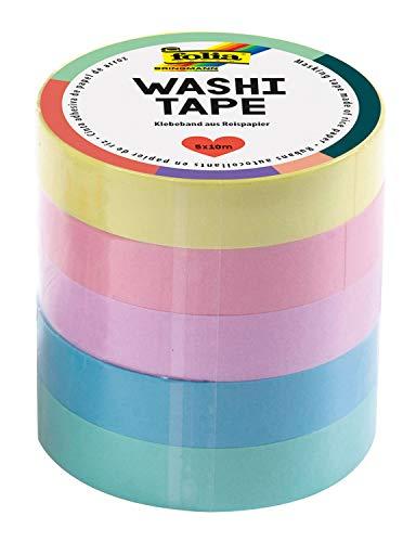 folia 26439 - Washi Tape, Klebeband aus Reispapier, Pastell, 5er Set, 10 m x 10 mm, ideal zum Verzieren und Dekorieren