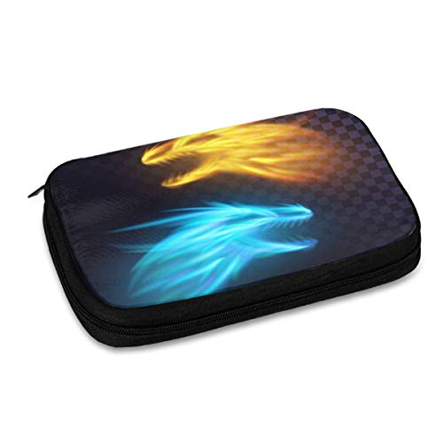 Electronics Organizer Two Fire Dragons Flame Blaze Best Electronic Accessories Cable Organizer Bag Travel Cable Storage Bag for Cables, Laptop Charger, Tablet (Up to 9.4'')