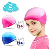 WOTEK Swim Cap Kids 2 Pack Silicone Swimming Cap Durable Comfortable Fit for Long Hair,Short Hair,Girls and Boys(Age6-15)(Size S)