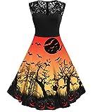 Nicetage Women's Halloween Dress 1950s Vintage Rockabilly Swing Dress Lace Cocktail Prom Party Dress HS396-268-Orange L