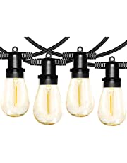 Anting S14 Led-lichtsnoer voor buiten, retro, IP65 waterdicht, 30 x 1 W ledlampen, E27, warmwit, voor binnen en buiten, decoratie voor tuin, bruiloft (2 reservelampen)