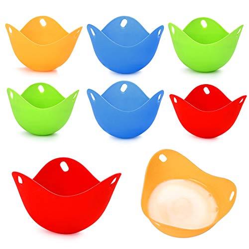 Bluelves Eier Dampfgarer 8 Pcs, Eierkocher, Eierdampfer Pochiert Matt Tassen, Silikon Wildern New pochiert Ei Maker Set für Topf Pfanne Mikrowelle und pochiert Eier
