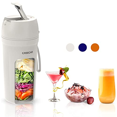 GREECHO Portable Blender, One-handed Drinking Mini Blender for Shakes and Smoothies, 12 oz Personal Blender with Rechargeable USB, Made with BPA-Free Material Portable Juicer, Matte White